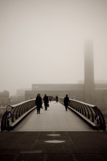 Smog on the Millenium Bridge, London, image by Kevin Lallier, Flickr