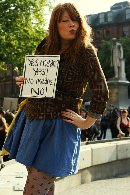 Woman protesting during a demo called 'Slutwalk', where women campaign for sex workers' right to choose.